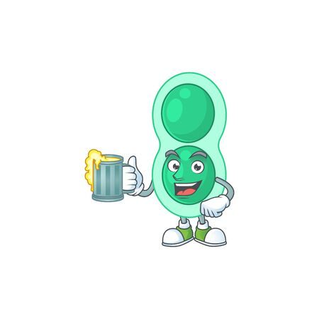 A cheerful green streptococcus pneumoniae cartoon mascot style toast with a glass of beer