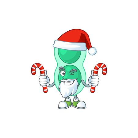 Cartoon character of green streptococcus pneumoniae as a Santa having candies