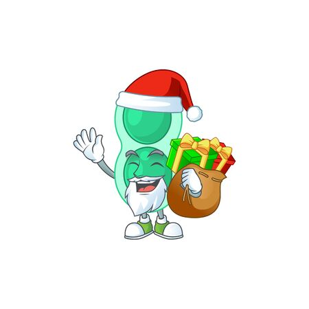 Santa green streptococcus pneumoniae Cartoon drawing design with sacks of gifts