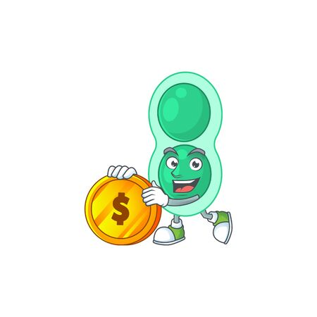 cartoon picture of green streptococcus pneumoniae rich character with a big gold coin. Vector illustration