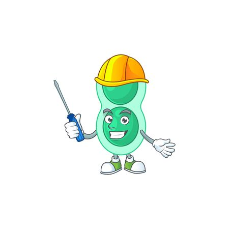 A cartoon image of green streptococcus pneumoniae in a automotive character. Vector illustration