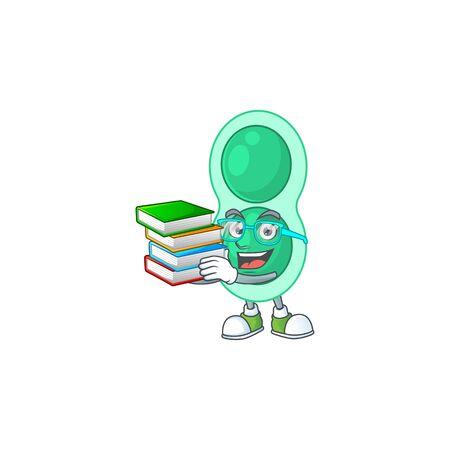 A mascot design of green streptococcus pneumoniae student having books