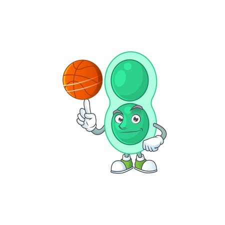 An sporty green streptococcus pneumoniae mascot design style playing basketball on league Illustration