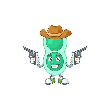 A masculine cowboy cartoon drawing of green streptococcus pneumoniae holding guns