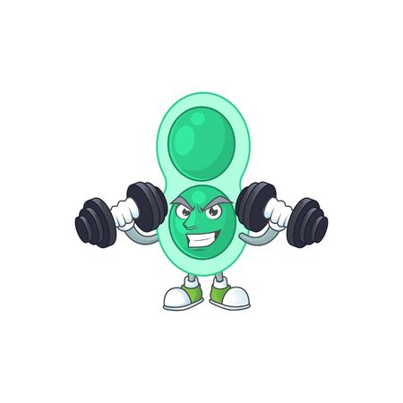 Caricature picture of green streptococcus pneumoniae exercising with barbells on gym Ilustrace