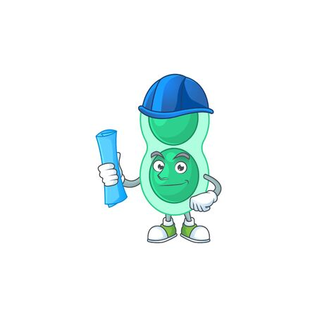 brilliant Architect green streptococcus pneumoniae mascot design style with blue prints and helmet