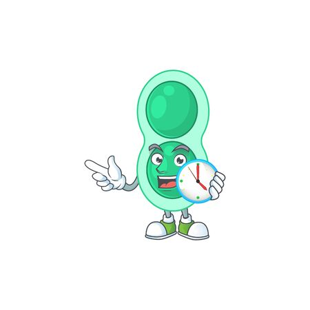 cartoon drawing concept of green streptococcus pneumoniae with a circle clock Ilustrace
