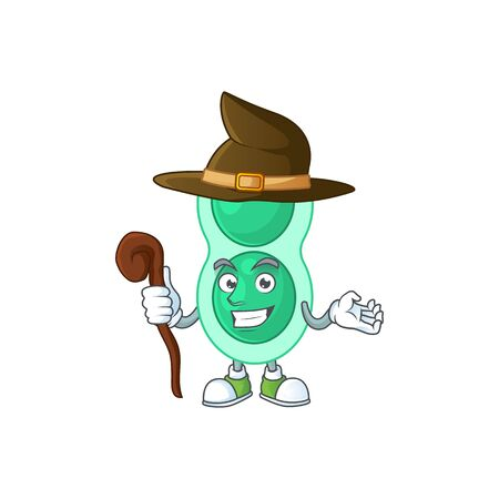sneaky and tricky Witch green streptococcus pneumoniae cartoon drawing concept
