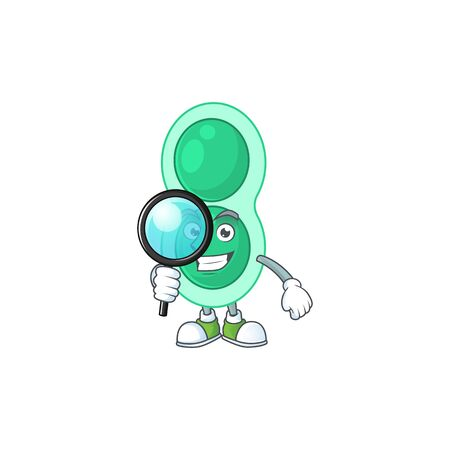 cartoon drawing concept of green streptococcus pneumoniae working as a Private Detective. Vector illustration