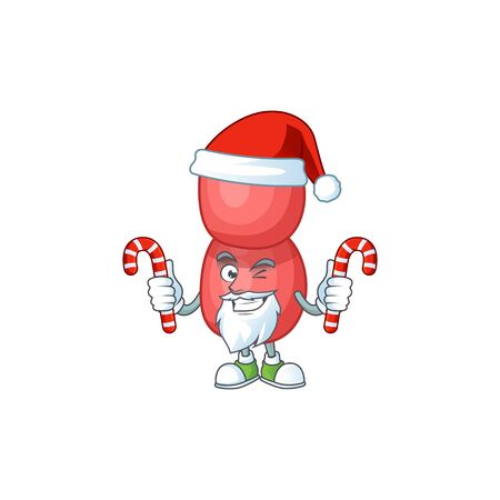 Cartoon character of neisseria gonorrhoeae as a Santa having candies