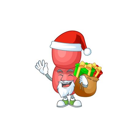 Santa neisseria gonorrhoeae Cartoon drawing design with sacks of gifts Иллюстрация