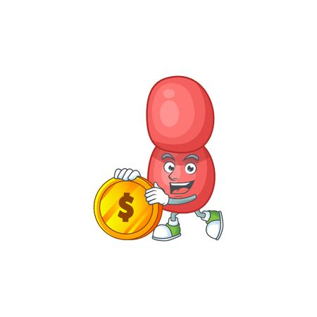 cartoon picture of neisseria gonorrhoeae rich character with a big gold coin Illustration