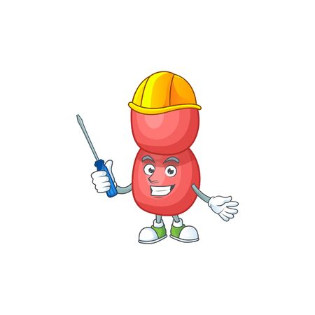 A cartoon image of neisseria gonorrhoeae in a automotive character