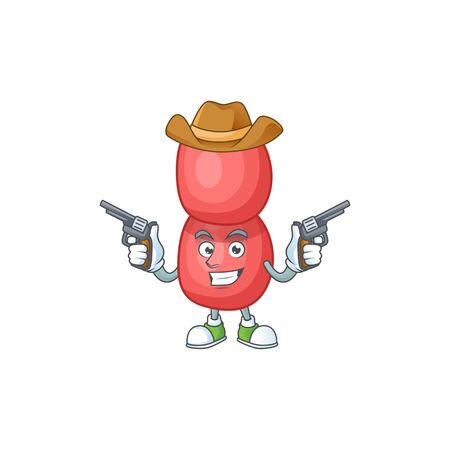 A masculine cowboy cartoon drawing of neisseria gonorrhoeae holding guns