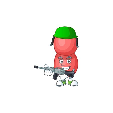A mascot design picture of neisseria gonorrhoeae as a dedicated Army using automatic gun Ilustração