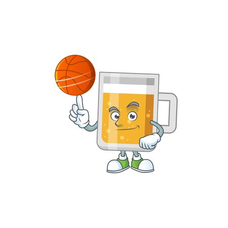 An sporty glass of beer mascot design style playing basketball on league