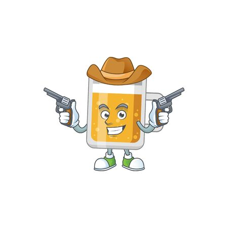 A masculine cowboy cartoon drawing of glass of beer holding guns Illustration