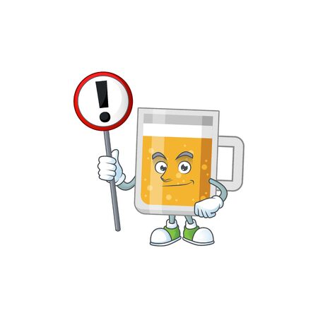 Caricature picture of glass of beer holding a sign