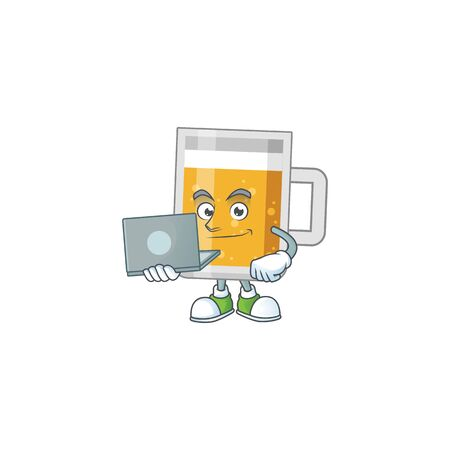 Diligent glass of beer cartoon drawing concept working from home with laptop Illustration