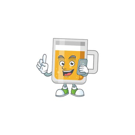 cartoon drawing concept of glass of beer speaking with friends on phone
