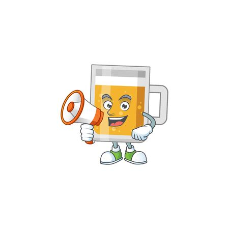An image of glass of beer cartoon design style with a megaphone