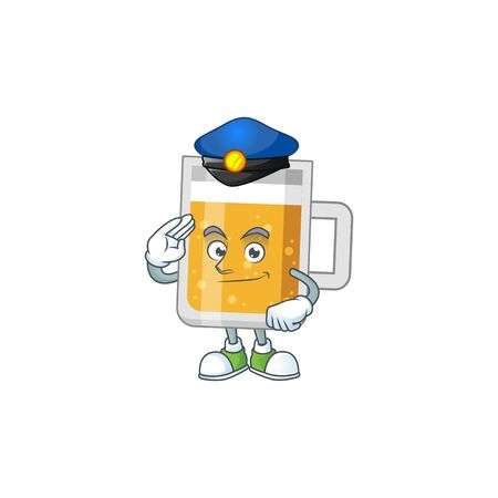 A dedicated Police officer of glass of beer cartoon drawing concept