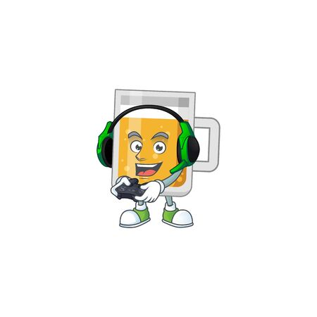 A cartoon design of glass of beer clever gamer play wearing headphone Illustration