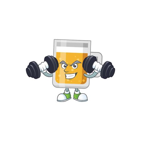 Caricature picture of glass of beer exercising with barbells on gym