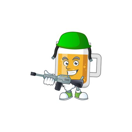 A mascot design picture of glass of beer as a dedicated Army using automatic gun