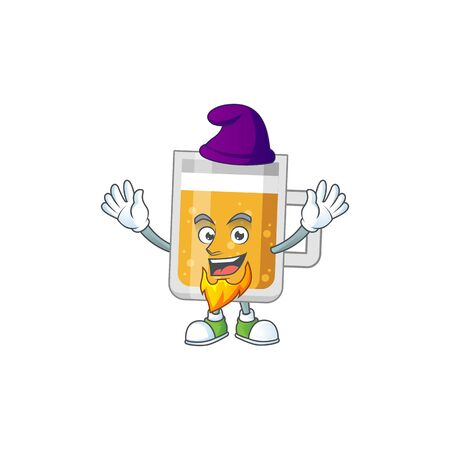A charming fairytale of glass of beer Elf cartoon drawing concept Illustration