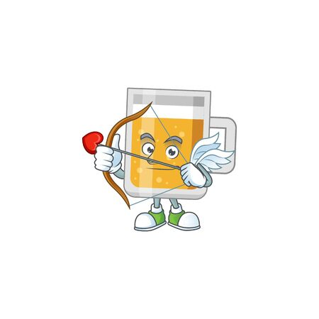 mascot design concept of glass of beer cute Cupid with arrow and wings