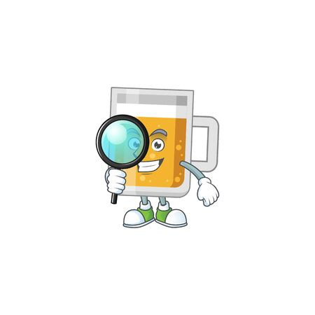cartoon drawing concept of glass of beer working as a Private Detective