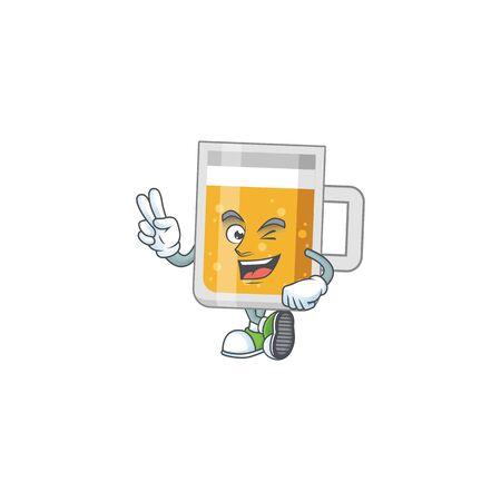 smiling glass of beer cartoon mascot style with two fingers