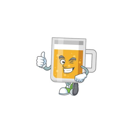 Caricature picture of glass of beer with Thumbs up finger 일러스트