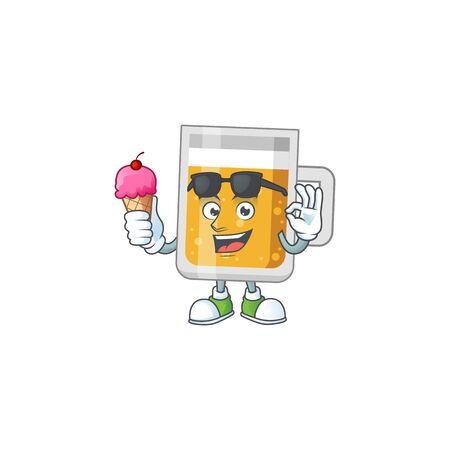 Happy face of glass of beer cartoon mascot having an ice cream Illustration
