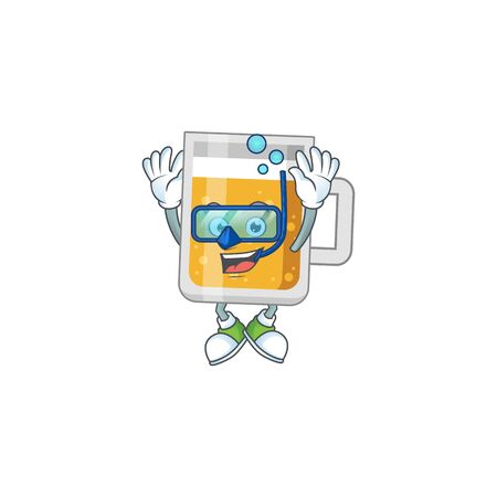 cartoon drawing concept of glass of beer wearing cool Diving glasses ready to swim