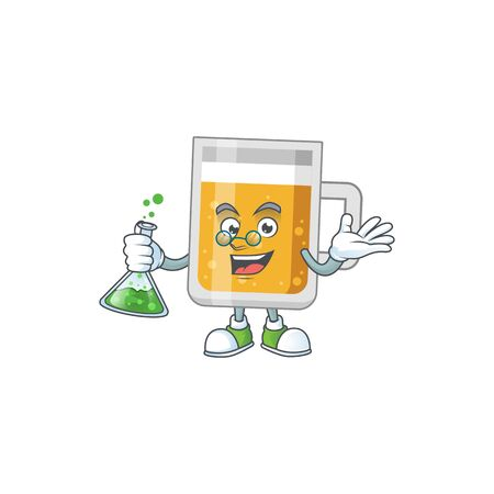 Glass of beer smart Professor Cartoon character holding glass tube on the lab