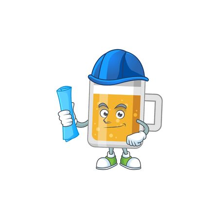 brilliant Architect glass of beer mascot design style with blue prints and helmet