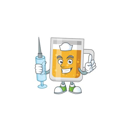 A humble Nurse glass of beer Cartoon character holding syringe Illustration