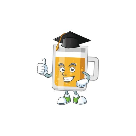 Happy face Mascot design concept of glass of beer wearing a Graduation hat