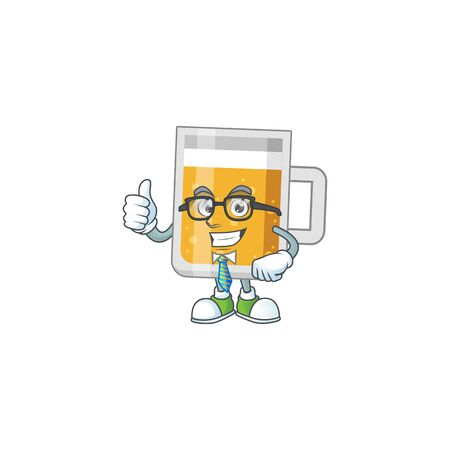 cartoon drawing concept of glass of beer as a successful businessman
