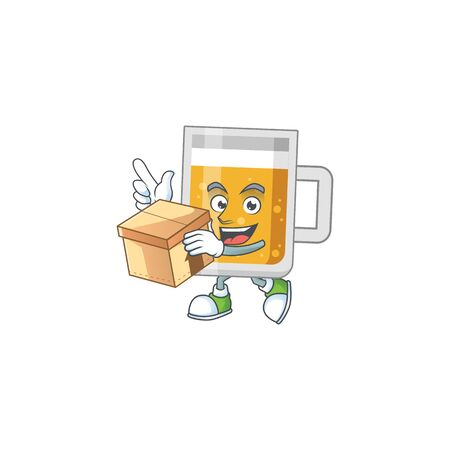 cartoon design style of glass of beer having gift box