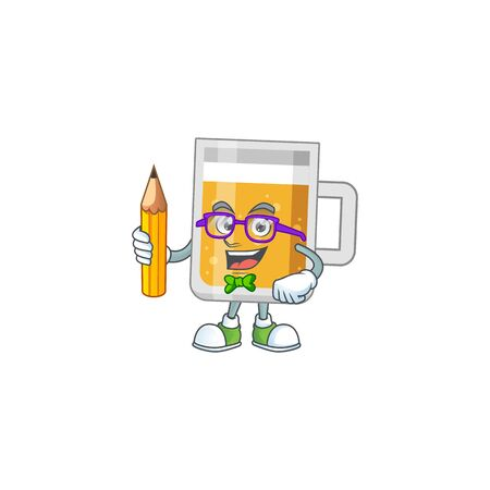 Glass of beer student Mascot design concept studying at home