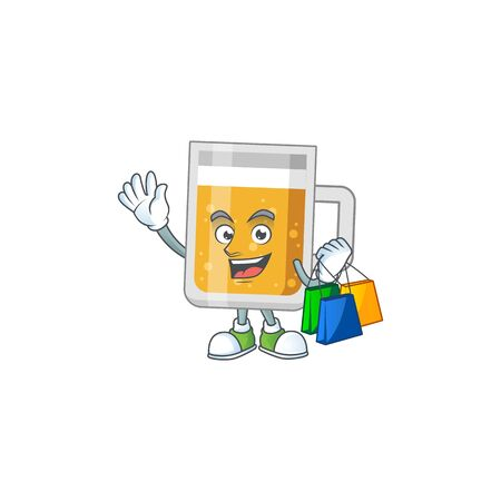 Happy rich glass of beer Caricature picture with shopping bags