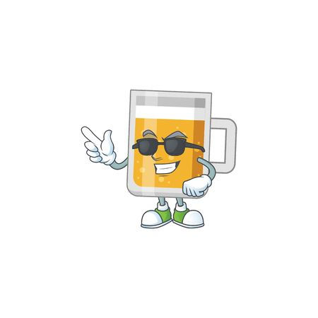 Super cool glass of beer cartoon drawing style wearing black glasses Illustration
