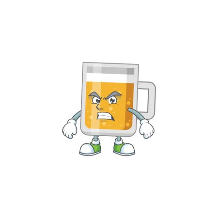cartoon drawing of glass of beer showing angry face