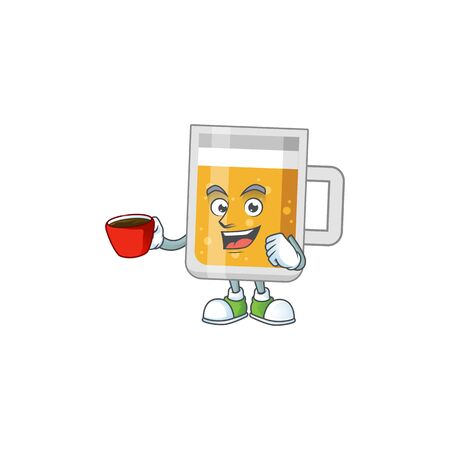 A mascot design character of glass of beer drinking a cup of coffee
