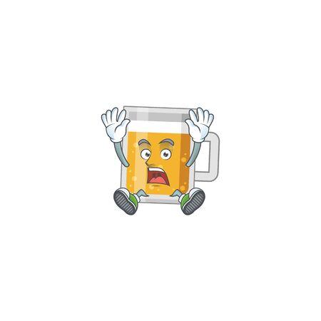 cartoon character design of glass of beer having shocking gesture Illustration