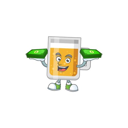 A cheerful glass of beer cartoon mascot design having some money on hands Vectores