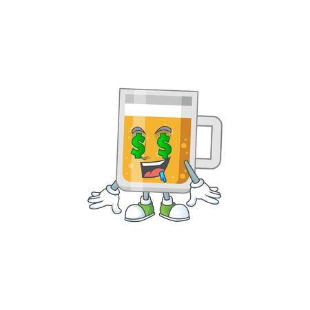 Cute rich glass of beer mascot character style with money eyes Vectores